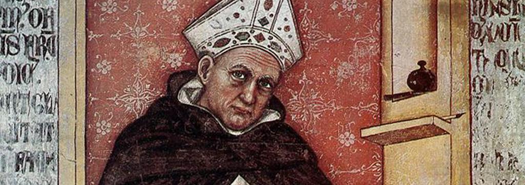 Tommaso da Modena: Albertus Magnus, Fresko (1352) (Ausschnitt)